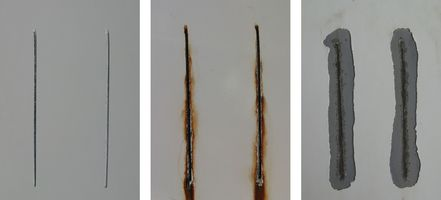 Test plates with a scratch from a salt spray test (SST) are presented. An unstressed sample is shown on the left, a sample after 400 h stress in the middle and on the right after stress and cleaning for evaluation.