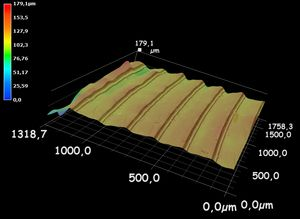 Darstellung der dreidimensionalen Aufnahme einer Fresnel-Linseoberfläche