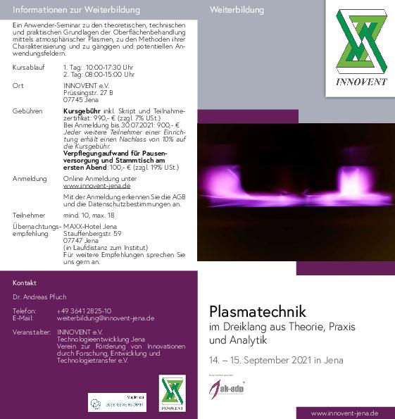 Flyer Weiterbildung Plasmatechnik