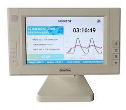 Gezeigt wird das Display des CertoClav Connect mit Temperatur und Druckanzeige in Text und graphisch in Bezug zur Zyklusdauer.