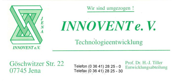 Contact flyer INNOVENT for the move 1995 to Göschwitzer Straße