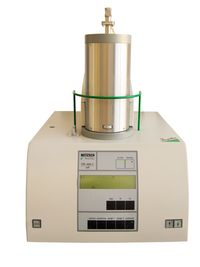 The STA 449 C from Netzsch is shown. This instrument works simultaneously as a DSC/DTA and as a thermobalance (TGA). Analysis can be carried out ranged from RT up to 1500 °C.