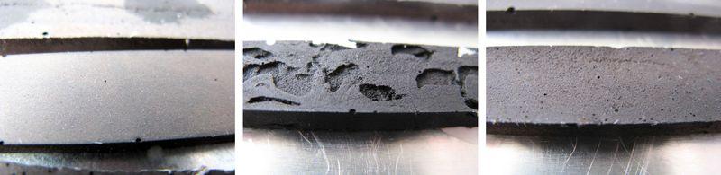 Dargestellt sind 3 Bilder eines Chemikalientankmaterial, links die unbelastet gefolgt von Prüfkörpern nach 300 h in 98 %iger Schwefelsäure: mittig – ohne Modifizierung und  rechts – durch Modifizierung weitgehend beständige Gießmasse.