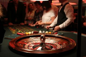 Roulette table with INNOVENT employees